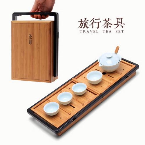 Chines Gongfu Tea Travel Teaset in Bamboo Box Gaiwan Teacups Filter Cloth Bag