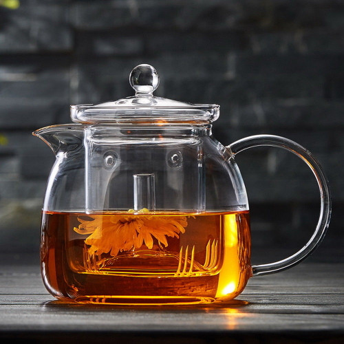 Clear Glass Lead Free Borosilicate Heat Resistant Teapot With Infuser 1350ml