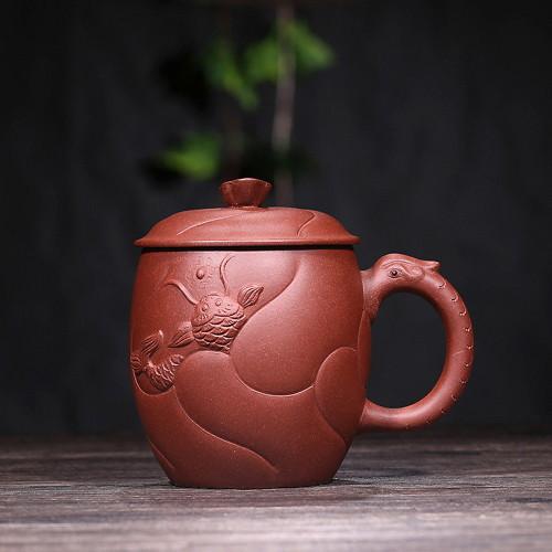 Handmade Yixing Zisha Purple Clay Dragon & Carp Tea Mug with Lid 350ml 11.8oz