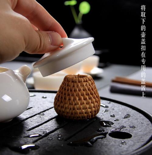 Handmade Rattan Teapot Gaiwan Lid Holder Stand Kung Fu Tea Ceremony Accessory