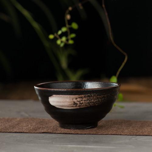 Handmade Japanese Temmoku Black Ceramic Matcha Bowl Pottery Teabowl 220ml 7oz