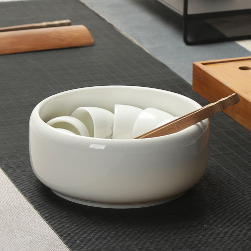 White Porcelain Cha Xi Gongfu Tea Ceremony Water Bowl for Teacups 1200ml 40.58oz