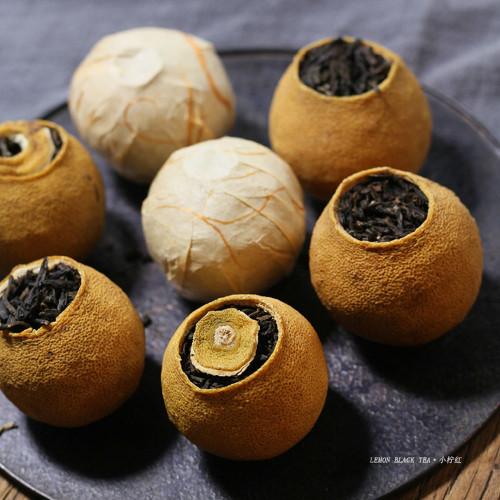 Yunnan Ancient Tree Dian Hong Black Tea Stuffed in Little Dried Lemon Fruit 10pcs