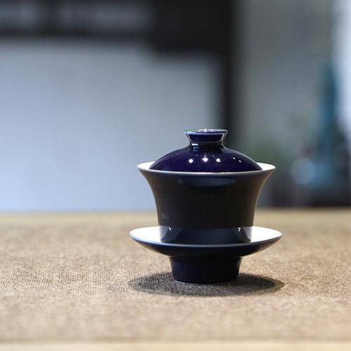 Jingdezhen Sapphire Blue Tall Porcelain Gongfu Tea Gaiwan Teacup 110ml 3.72oz