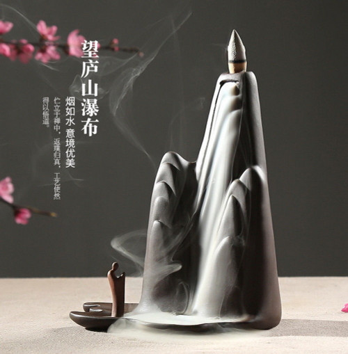 Yixing Zisha Clay Mountain & Waterfall Backflow Smoke Tower Cones Incense Burner