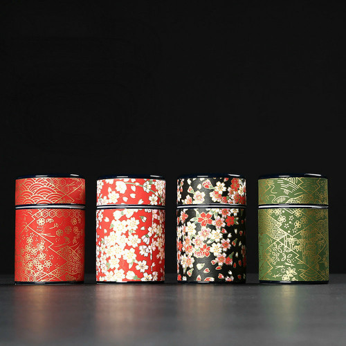 Japanese Washi Double Lids Porcelain Tea Canister Coffee Mini Caddy Jar 50ml