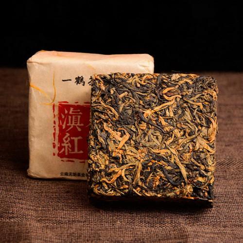 400 Years Ancient Tree Golden Buds Dian Hong Yunnan Gold Black Tea Brick 250g