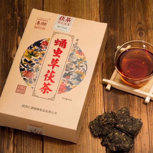 Golden Flowers Jinhua Fu Zhuan Dark Tea Brick with Cordycepin 400g