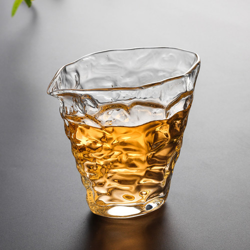 Ripple Flat Clear Glass Kungfu Tea Serving Tea Pitcher Fair Cup Cha Hai 250ml