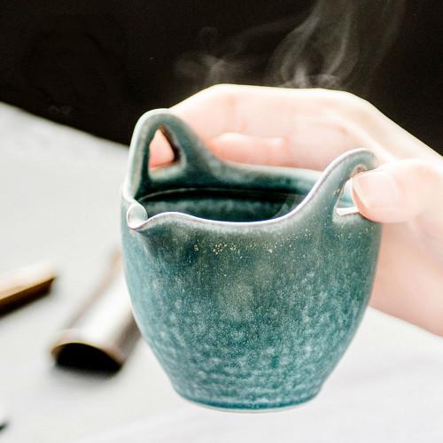 Cadet Blue Anti-hot Ceramic Cha Hai Gongfu Tea Serving Pitcher Fair Cup 150ml