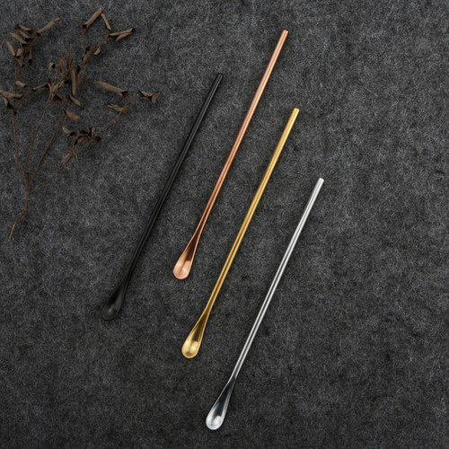 Long Handle Stainless Steel Coffee Tea Cocktail Stirring Spoon Rose Gold
