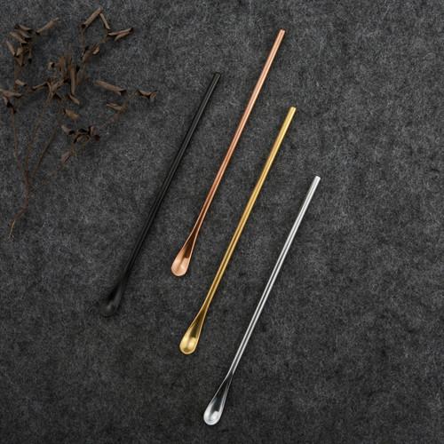 Long Handle Stainless Steel Coffee Tea Cocktail Stirring Spoon Black