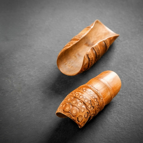 Natural Handmade Bamboo Root Cha He Loose Tea Presentation Vessel