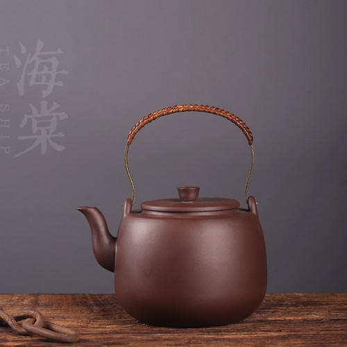 Brass Loop Handle Yixing Zisha Clay Tea Water Kettle Boiler 1.5L 50oz