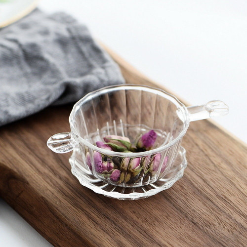 Handmade Clear Glass Tea Strainer & Drip Tray Infuser with Two Handles