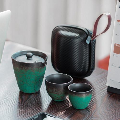 Sea Blue & Black Ceramic Teapot & Teacups Travel Gongfu Tea Set In Case