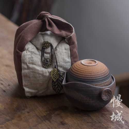 Ceramic Travel Gongfu Tea Set Teapot & Teacup In Cotton Bag
