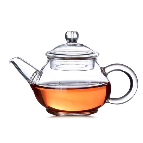 Mini Size Clear Glass Chinese Kungfu Tea Teapot with Spiral Filter 150ml 5oz