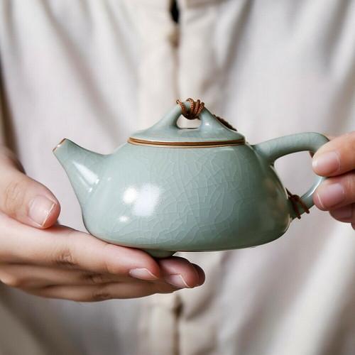 Ice Veins Shi Piao Ru Kiln Celeste Celadon Chinese Teapot 150ml 5.07oz