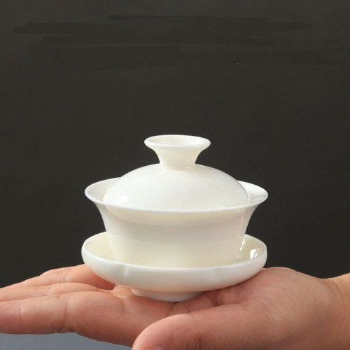 Mini White Porcelain Gaiwan Chinese Gongfu Tea Brewing Lidded Cup 50ml 1.69oz