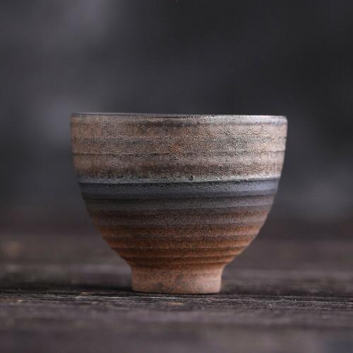 Handmade Bell-shaped Wood Fired Chinese Gongfu Tea Tasting Teacup 50ml 1.69oz x2