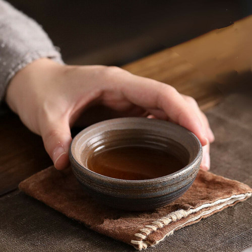 Handmade Wide Flat Wood Fired Chinese Gongfu Tea Tasting Teacup 50ml 1.69oz x 2
