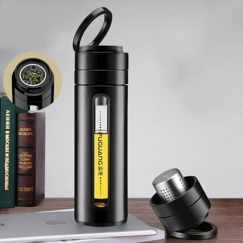 Portable Spill-proof Glass Drink Bottle with Loose Leaf Tea Infuser 380ml 12.8oz