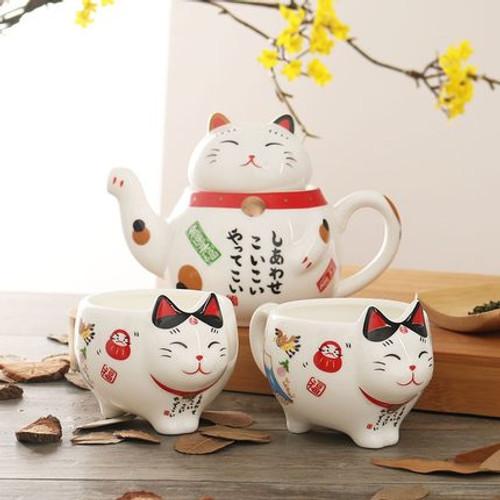 Lucky Cat Ceramic Kungfu Tea Teapot And Teacup Set 320ml
