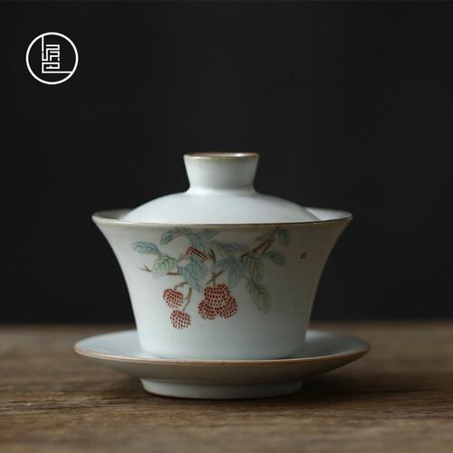 Ruyao Sterling Silver Ceramics Gongfu Tea Gaiwan Brewing Vessel 180ml
