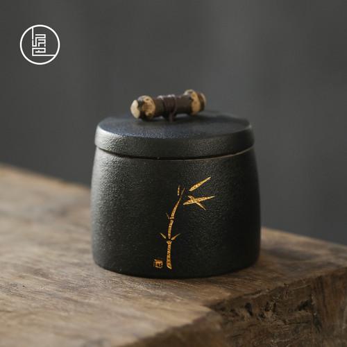Bamboo Festival Ceramic Food Container Tea Caddy 270ml