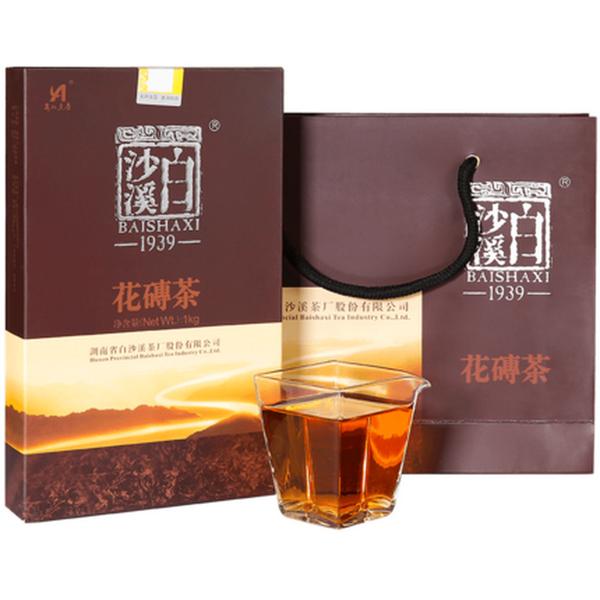 BAISHAXI Brand Flower Brick Tea Hunan Anhua Dark Tea 1000g Brick