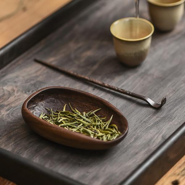 Retro Black Walnut Cha He Kungfu Tea Leaves Presentation Vessel & Scoop Set