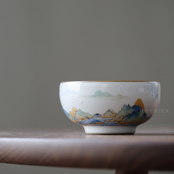 Qianli Jiangshan Tu Chinese Ceramic Gongfu Tea Tasting Teacup 100ml