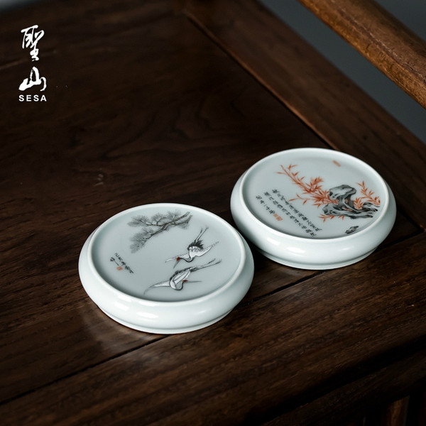 Wen Feng Hand Drawn Ceramic Teapot Gaiwan Lid Holder Stand Kung Fu Tea Ceremony Accessory