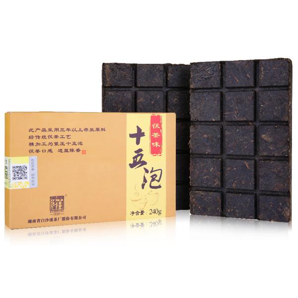 BAISHAXI Brand Fu Cha Wei Fifteen Bubble Hunan Anhua Dark Tea 240g Brick