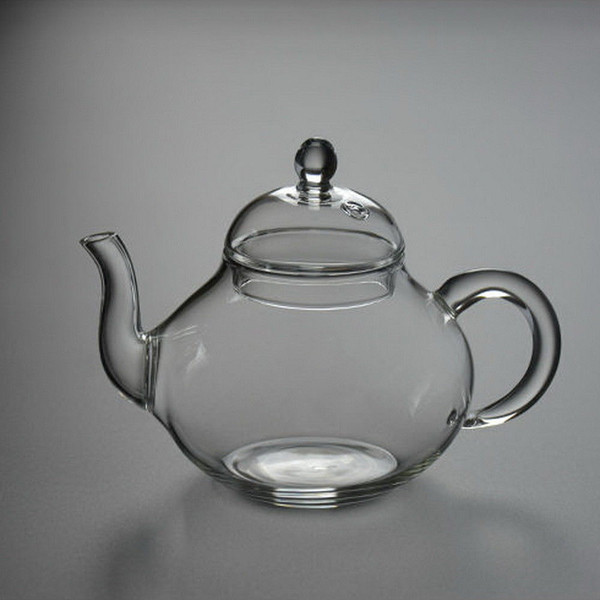 Handmade Borosilicate Clear Glass Small Gongfu Teapot with Filter 250ml 8.4oz