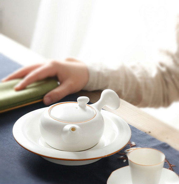 Moon White Ceramic Side Handle Kungfu Tea Teapot 190ml 6oz