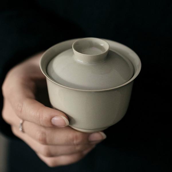 Grey Glaze Antique Glaze Ceramics Gongfu Tea Gaiwan Brewing Vessel 120ml