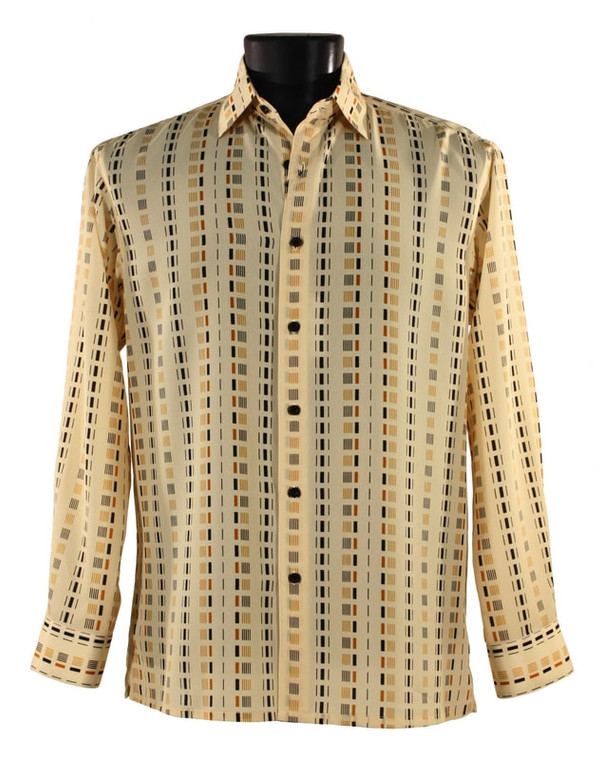 Bassiri Yellow Dash Design Long Sleeve Camp Shirt