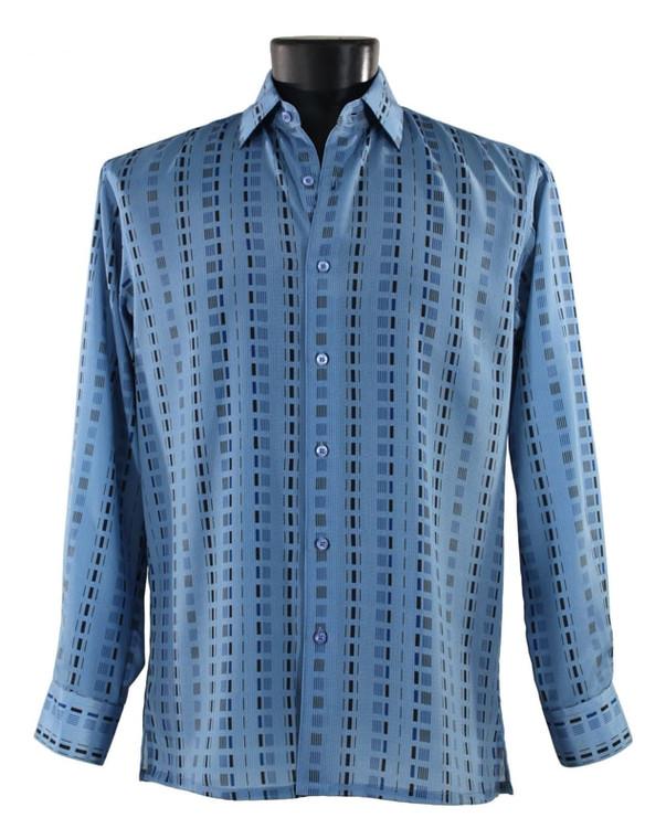 Bassiri Blue Dash Design Long Sleeve Camp Shirt