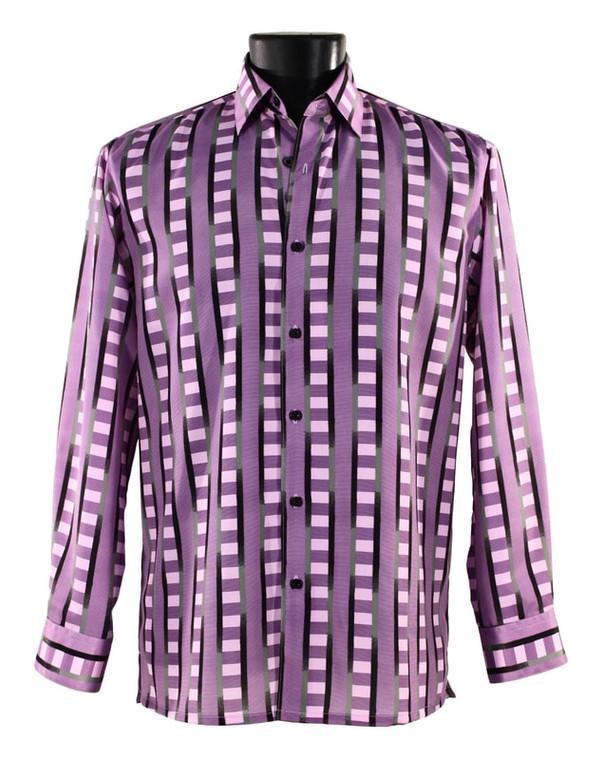 Bassiri Purple & Black Block Design Long Sleeve Camp Shirt