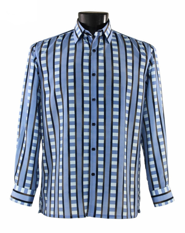 Bassiri Blue & Black Block Design Long Sleeve Camp Shirt