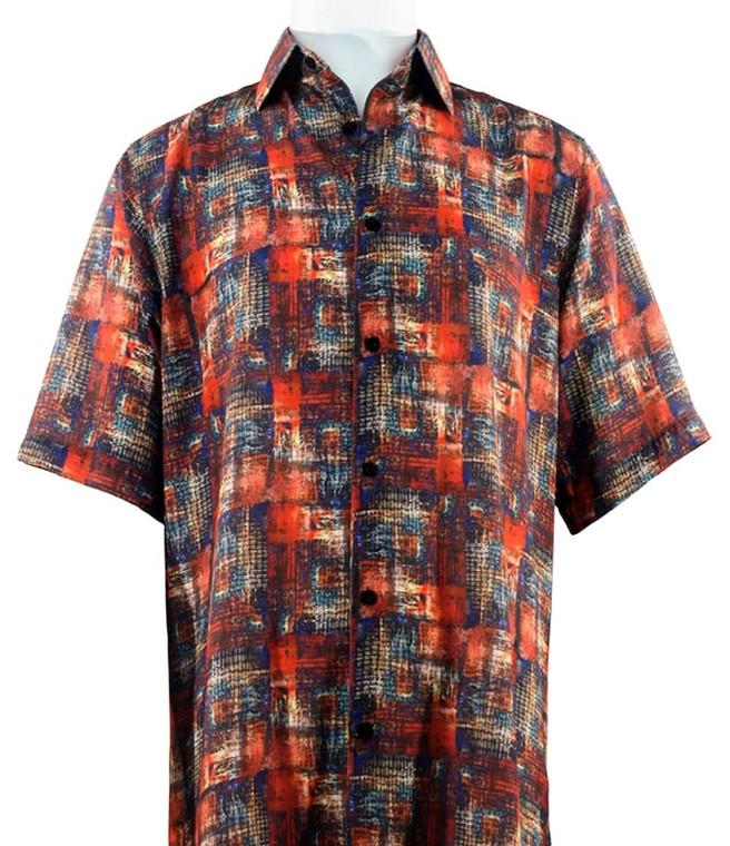 Bassiri Orange and Blue Geometric Short Sleeve Camp Shirt