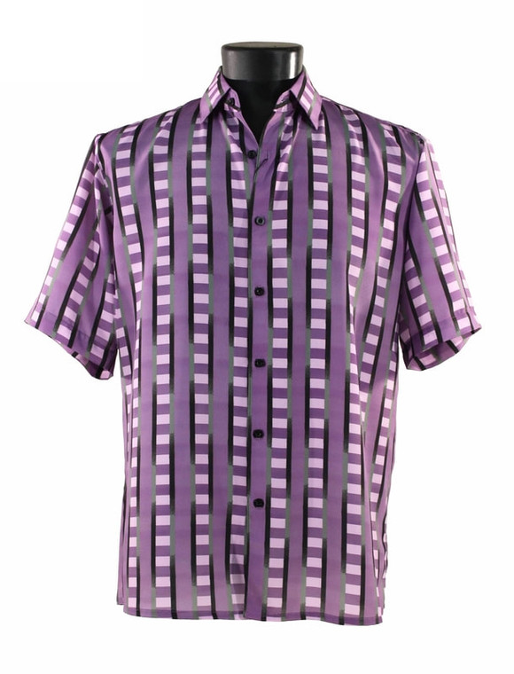 Bassiri Purple & Black Block Design Short Sleeve Camp Shirt