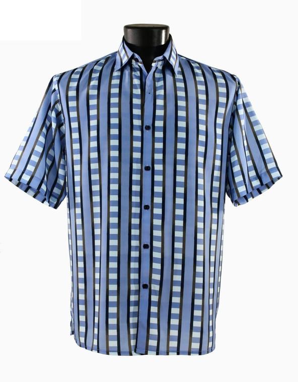 Bassiri Blue & Black Block Design Short Sleeve Camp Shirt