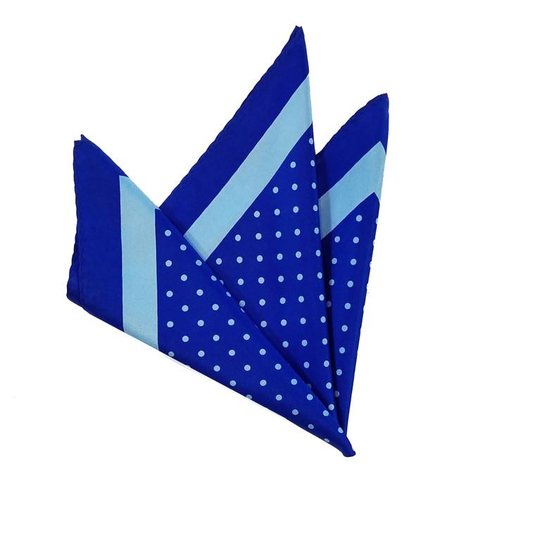 100% Silk Pocket Square - Baby Blue & Royal Polka Dot - 12in