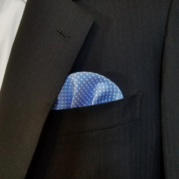 Pre-Folded Polka Dot Pocket Square Insert - Baby Blue & White