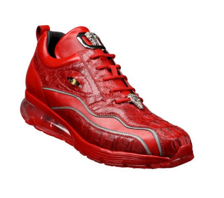 Belvedere Genuine Hornback Crocodile and Italian Calf Sneakers - Red