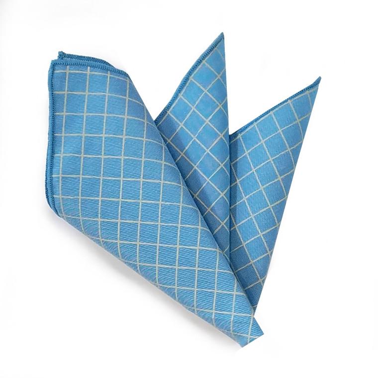 100% Linen Windowpane Design Pocket Square - Baby Blue with Light Tan