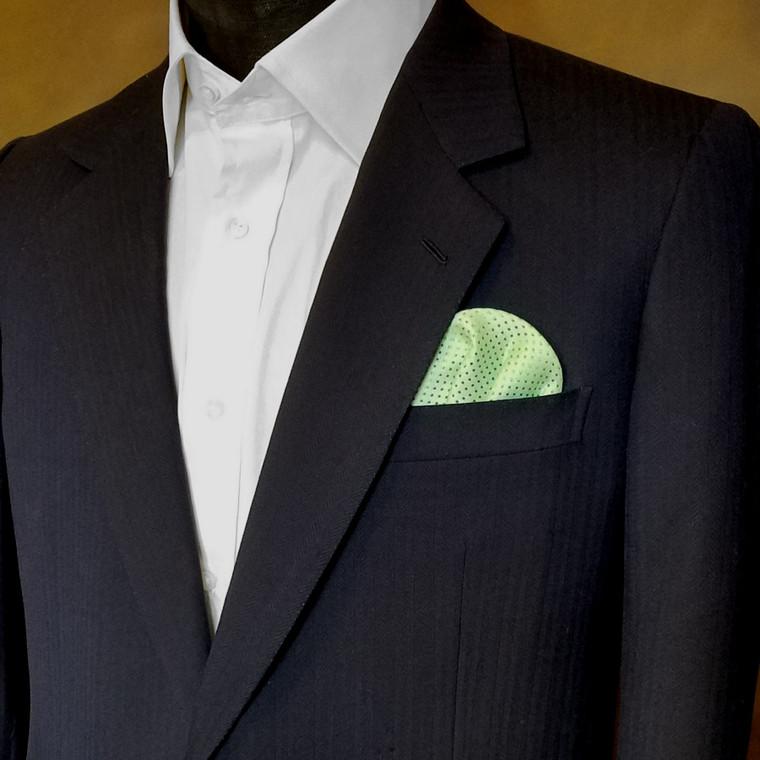 Pre-Folded Dotted Pocket Square Insert - Light Green